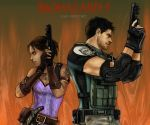 1boy 1girl asia_airport back-to-back bare_shoulders belt bulletproof_vest chris_redfield dark_skin elbow_pads facial_hair fingerless_gloves gloves gun knife muscle pistol resident_evil resident_evil_5 sheva_alomar short_hair stubble t-shirt tattoo trigger_discipline vambraces weapon
