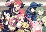 2boys 3girls :d ^_^ arcanine baku_(pokemon) carrying chansey claydol closed_eyes eyes_closed gen_(pokemon) grin holding kadabra lucario mai_(pokemon) miru_(pokemon) momi_(pokemon) multiple_boys multiple_girls open_mouth pokemon pokemon_(creature) pokemon_(game) pokemon_diamond_and_pearl pokemon_dppt smile sweatdrop yoyterra