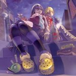 blonde_hair blue_eyes bottle chuck chuck_(psg) cloud coat crocs drinking earrings foreshortening from_below jewelry long_hair multicolored_hair multiple_girls nail_polish panty_&_stocking_with_garterbelt panty_(character) panty_(psg) pomodorosa revision risa_hibiki scarf sitting sky smile stairs star_(sky) starry_sky stepped_on stocking_(character) stocking_(psg) striped striped_legwear thigh-highs thighhighs two-tone_hair