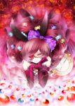 bow dress elbow_gloves eyepatch flower gloves hair_bow long_hair lying original red_rose rinko_(mg54) rose solo thorn thorns