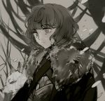 1boy a_song_of_ice_and_fire bran_stark brown_eyes brown_hair cape fur_trim muted_color solo suou wavy_hair