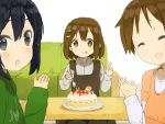 black_hair brown_eyes brown_hair cake couch food fork hirasawa_ui hirasawa_yui holding holding_fork k-on! nakano_azusa nasuna short_hair table tongue tongue_out v