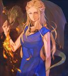 1girl a_song_of_ice_and_fire blonde_hair braid daenerys_targaryen dragon dress drogon fire french_braid jewelry long_hair necklace solo violet_eyes white_hair y_xin
