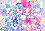 chypre_(heartcatch_precure!) coffret_(heartcatch_precure!) cure_blossom cure_marine floral_background flower hanasaki_tsubomi heartcatch_precure! kurumi_erika multiple_girls official_art precure