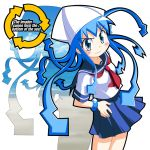 blue_hair english hat ikamusume logo long_hair rindou_(awoshakushi) school_uniform serafuku shinryaku!_ikamusume silhouette tentacle_hair typo