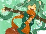 asari_toko bad_id closed_eyes eyes_closed green_hair hatsune_miku long_hair open_mouth outstretched_arms scarf solo spread_arms twintails very_long_hair vest vocaloid