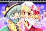ascot blonde_hair dress eyeball flandre_scarlet frills green_eyes green_hair hat hat_ribbon heart heart_hands heart_hands_duo komeiji_koishi looking_at_viewer multiple_girls open_mouth red_eyes ribbon rika-tan_(artist) short_hair side_ponytail skirt smile third_eye touhou wide_sleeves wings