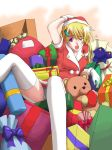 1girl blonde_hair box christmas gloves hand_on_own_head hat hozumi_isatsu open_mouth original ribbon sack santa_costume santa_hat solo stuffed_animal stuffed_toy thigh-highs violet_eyes white_legwear wince