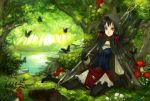 black_hair bush butterfly corset forest frills gloves grass hair_ribbon hood kyouka_hatori long_hair mushroom nature original pantyhose pond red_eyes ribbon scenery shovel smile solo tree worktool