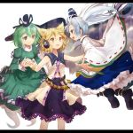 3girls boots bracelet brown_eyes brown_hair dress earmuffs efe ghost_tail green_dress green_eyes green_hair hat japanese_clothes jewelry kariginu mononobe_no_futo multiple_girls multiple_tails short_hair silver_hair skirt soga_no_tojiko tail tate_eboshi touhou toyosatomimi_no_miko wide_sleeves