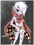 absurdres argyle argyle_legwear argyle_pantyhose armband belt capelet chain chains crystal earrings elbow_gloves facial_mark fang ghirahim gloves hair_over_one_eye highres jewelry male midna01 navel pointy_ears red_eyes skyward_sword solo standing sword the_legend_of_zelda vest weapon white_hair white_skin