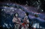 2boys bankotsu_(inuyasha) black_hair braid facial_mark inuyasha jakotsu_(inuyasha) japanese_clothes multiple_boys scarf single_braid sky star_(sky) starry_sky suou trap