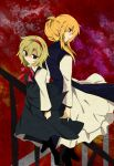 2girls alice_margatroid back-to-back blonde_hair blue_eyes dress faech hairband highres long_sleeves multiple_girls no_hat no_headwear short_hair smile touhou violet_eyes yakumo_yukari