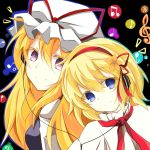 2girls alice_margatroid blonde_hair blue_eyes bust capelet faech flower hair_flower hair_ornament hairband hat headphones long_hair multiple_girls musical_note short_hair smile touhou violet_eyes yakumo_yukari