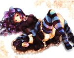 blue_hair candy dress green_eyes hair_bow highres lollipop long_hair lying on_back panty_&_stocking_with_garterbelt purple_hair stocking_(character) stocking_(psg) striped striped_legwear sumomo_kaze thigh-highs thighhighs white