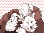 2boys a_song_of_ice_and_fire beard coat facial_hair fur_trim ghost_(a_song_of_ice_and_fire) hug jeor_mormont jon_snow monochrome multiple_boys red wolf yd_switch