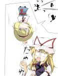 ! 3girls alice_margatroid blonde_hair broom capelet chibi closed_eyes doll dress faech hair_ribbon hairband hat head_bump kirisame_marisa long_hair long_sleeves mini-hakkero multiple_girls open_mouth puffy_sleeves ribbon short_hair surprised touhou white_background yakumo_yukari