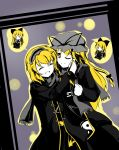 2girls alice_margatroid alternate_costume blonde_hair closed_eyes coat dress faech hair_ribbon hairband highres long_hair long_sleeves multiple_girls open_mouth ribbon scarf shanghai_doll short_hair smile touhou very_long_hair wink yakumo_yukari yellow_eyes