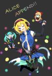 3girls alice_margatroid alice_margatroid_(cosplay) blonde_hair blue_eyes blush breasts bridal_gauntlets capelet character_name chibi closed_eyes cosplay costume_switch detached_sleeves dress faech green_hair hair_ribbon hatsune_miku hatsune_miku_(append)_(cosplay) highres long_hair long_sleeves miku_append multiple_girls navel necktie open_mouth pantyhose ribbon shanghai_doll short_hair skirt thigh-highs touhou twintails vocaloid vocaloid_append wink