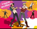 albert_maverick alexander_lloyds barnaby_brooks_jr belt blonde_hair boots brown_eyes brown_hair cabbie_hat dancing facial_hair formal glasses green_eyes hat jacket jewelry kaburagi_t_kotetsu labcoat male multiple_boys necklace necktie pointing red_jacket saitou_(tiger_&_bunny) short_hair stubble studded_belt suit tctntm tiger_&_bunny vest waistcoat watch wristwatch