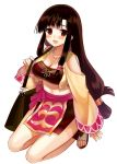1girl bag blush breasts brown_eyes brown_hair cleavage jewelry large_breasts long_hair looking_at_viewer navel necklace saaya_(suisei_no_gargantia) sandals simple_background sitting smile solo suisei_no_gargantia wariza white_background