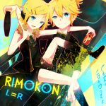 1boy 1girl achiki blonde_hair blue_eyes boots bowtie brother_and_sister controller grin hair_ornament hair_ribbon hairclip kagamine_len kagamine_rin nes project_diva project_diva_f puntiki remote_control ribbon rimocon_(vocaloid) short_hair siblings smile twins vocaloid