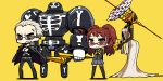 1girl arms_behind_back blonde_hair brown_hair chan_co chibi clenched_teeth glasses himiko_(persona_4) jacket_on_shoulders kujikawa_rise long_hair persona persona_4 school_uniform serafuku short_hair smile standing take-mikazuchi tatsumi_kanji thigh-highs thighhighs twintails