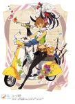 animal_ears bagpipes belt beltskirt bird bow brooch brown_hair butterfly cat chicken dalmatian dog ebira flower folklore frills gathers glasses gloves highres hooves instrument jewelry keyboard_(instrument) keychain melodica minotaur motor_vehicle neck_ruff pink_eyes posing rooster scooter short_hair smile solo tambourine town_musicians_of_bremen translated trumpet vehicle vest vines