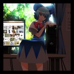 blue_dress blue_eyes blue_hair bow bowtie calendar calendar_(object) cirno colored_eyelashes commentary computer computer_screen curtains dress google google_chrome hair_bow highres kasuteru looking_away on_table open_mouth sitting solo touhou window windowboxed