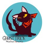 black_cat cat cat_(ghost_trick) cat_focus circle finished ghost ghost_trick jeff_hung leg_up looking_up neckerchief no_humans scarf scratching sitting solo sunglasses tail title_drop whiskers white_background yellow_eyes
