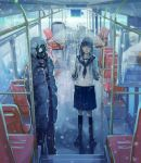 absurdres amo11315 coat gas_mask highres original school_uniform snowing train umbrella