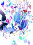 1girl blue_eyes blue_hair falling floating_hair hatsune_miku highres hoshino_kisora long_hair necktie skirt solo thigh-highs twintails very_long_hair vocaloid