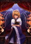 1girl album_cover alice_margatroid black_legwear blonde_hair blue_hair book boots capelet cover cross-laced_footwear crossed_legs green_eyes grimoire hairband lance lolita_hairband looking_at_viewer motida pantyhose polearm puffy_sleeves shanghai_doll shield short_sleeves sitting solo stage touhou weapon
