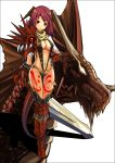 absurdres armor black_legwear boots breasts cleavage dragon dragon_girl facial_mark fantasy gauntlets highres horns knightzzz large_breasts legs long_legs original pink_hair red_legwear slender sling_bikini swimsuit sword tail tattoo thigh_boots thigh_gap thighhighs thighs weapon