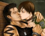 1boy 1girl asia_airport billy_coen black_hair blue_eyes brown_hair capcom choker couple cuffs dog_tags eyes_closed female fingerless_gloves gloves handcuffs hug jewelry kiss kissing lipstick love lowres male necklace police_uniform rebecca_chambers resident_evil resident_evil_0 short_hair tank_top tattoo uniform