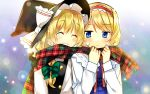 ^_^ absurdres alice_margatroid blonde_hair blue_eyes blush braid bust capelet closed_eyes flat_gaze hairband hanabana_tsubomi hat highres kirisame_marisa multiple_girls perfect_cherry_blossom plaid plaid_scarf ribbon scarf shared_scarf smile touhou witch witch_hat