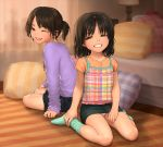 2girls bed black_hair brown_eyes child cross cross_necklace grin lamp multiple_girls original panties pantyshot pantyshot_(sitting) pillow plaid plaid_shirt rustle sitting skirt smile socks striped twintails underwear upskirt wariza wink