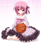 basketball blush collarbone flat_chest frills hair_ribbon highres kneeling kurono_yuzuko minato_tomoka mole pink_eyes pink_hair ribbon ro-kyu-bu! rou-kyuu-bu! school_uniform short_hair side_ponytail sitting smile solo
