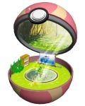 cabinet fairy flower forest grass heal_ball leaf minimized nature no_humans open_poke_ball pikachu plant poke_ball pokemon pokemon_(creature) ruun_(abcdeffff) sunlight television tree water