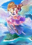 2girls blue_eyes brown_hair chaa_(ritoporu) cross-laced_footwear dress feathers flower flying hair_flower hair_ornament hug island long_hair multiple_girls ocean original sky smile water wings