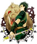 1boy azuazuazu19 black_hair blood boar cloth cross fate/stay_night fate/zero fate_(series) gae_buidhe lancer_(fate/zero) mole polearm ribbon short_hair spear weapon yellow_eyes
