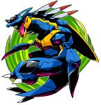 armaldo claws highres jumping monster no_humans open_mouth pokemon pokemon_(creature) sido_(slipknot) simple_background solo white_background