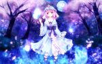 breasts cherry_blossoms floating fromage_tart full_moon furomaaju_(fromage) ghost hat highres hitodama japanese_clothes moon night petals pink_eyes pink_hair saigyouji_yuyuko short_hair smile solo touhou tree triangular_headpiece
