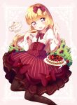 1girl :3 bangs blonde_hair blunt_bangs blush bow brown_eyes cup dress hair_bow highres hime_cut knife kzom lolita_fashion long_hair original pantyhose pastry plate smile solo tea teacup teapot
