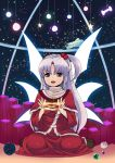:d ball blue_eyes cat's_cradle cutting_(mkjtl) goddess hair_bobbles hair_ornament lavender_hair long_hair marble open_mouth shinki side_ponytail sitting sky smile solo star_(sky) starry_sky touhou turtleneck wariza wings