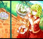 arms_up ascot bad_id blonde_hair fence flandre_scarlet flower_pot green_hair inobesion kazami_yuuka kotarou_(rakugaki_shirushi) letterboxed multiple_girls parasol plaid plaid_skirt plaid_vest plant potted_plant red_eyes shirt short_hair side_ponytail skirt skirt_set smile touhou umbrella vest wrist_cuffs wrist_ribbon youkai