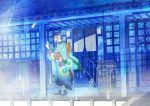bad_id bandana bandanna blonde_hair blue box building east_asian_architecture highres house japanese_clothes kusuriuri kusuriuri_(mononoke) male mononoke pointy_ears porch rooftop shrine solo wind_chime yuna_(rutera)