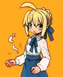 :o ahoge armor bad_id blonde_hair blush dadami fate/stay_night fate_(series) green_eyes hair_bun hair_ribbon hungry long_sleeves open_mouth orange_background ribbon saber saliva simple_background skirt solo stomach_growling trembling