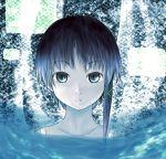 asymmetrical_hair blue blue_eyes blue_hair collarbone gradient_hair hair_tie iwakura_lain multicolored_hair nightshirt serial_experiments_lain shitoto solo water