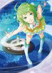 green_eyes green_hair gumi leaning_forward momopanda nail_polish skirt solo thigh-highs thigh_boots thighhighs vocaloid wrist_cuffs